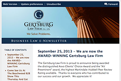 Gertsburg Law Firm September 25, 2013 Vol. 4 blog