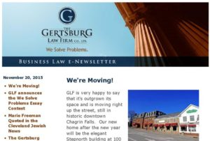 Gertsburg Law Firm November 20, 2015 Vol. 11 blog