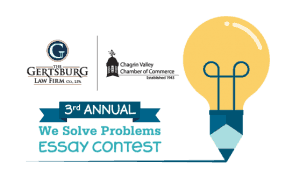 3rd annual We Solve Problems Essay Contest logo